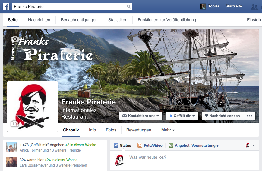 Facebook Profil von Franks Piraterie